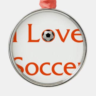 Ornement Rond Argenté J'aime le football