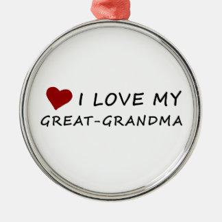 Ornement Rond Argenté J'aime ma Grand-Grand-maman avec le coeur