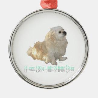 Ornement Rond Argenté J'aime mon petit chien blanc - Pekingese !