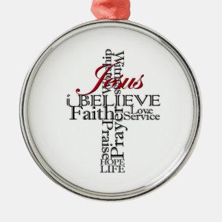 Ornement Rond Argenté je crois l'ornement rond de Noël de foi chrétienne