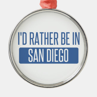 Ornement Rond Argenté Je serais plutôt à San Diego