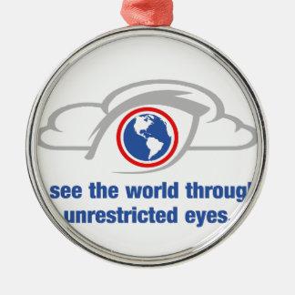 Ornement Rond Argenté Je vois le monde par les yeux sans restriction