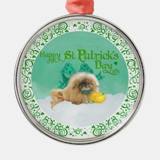 Ornement Rond Argenté Jour de la Saint Patrick Pekingese