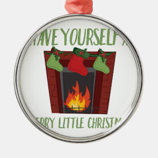 Ornement Rond Argenté Joyeux petit Noël