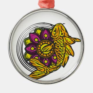 Ornement Rond Argenté Koi jaune-orange avec la fleur