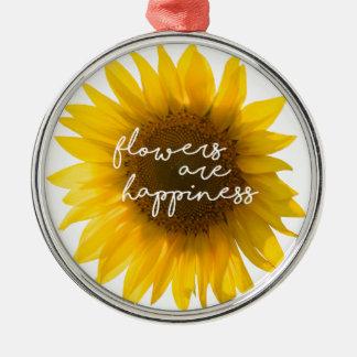 """Ornement Rond Argenté La citation """"fleurs de tournesol sont bonheur """""""