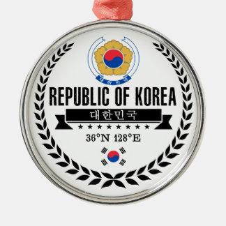 Ornement Rond Argenté La Corée du Sud