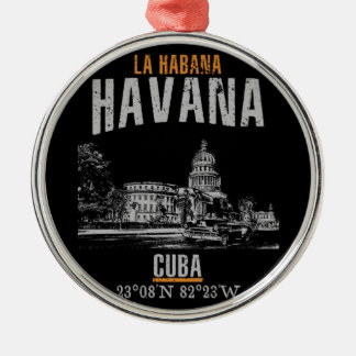 Ornement Rond Argenté La Havane