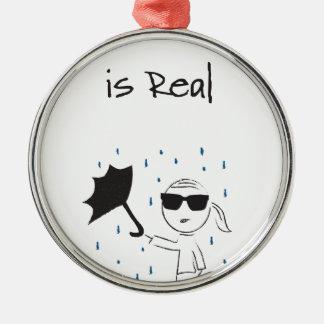 Ornement Rond Argenté La lutte d'échouer de parapluie est vraie