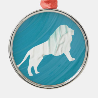 Ornement Rond Argenté La majesté 1 du lion [encadrée]