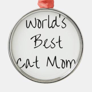Ornement Rond Argenté La meilleure maman du chat du monde - noir