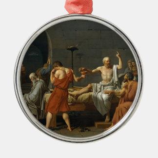 Ornement Rond Argenté La mort de Socrates