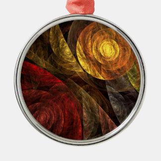 Ornement Rond Argenté La spirale de l'art abstrait de la vie rond