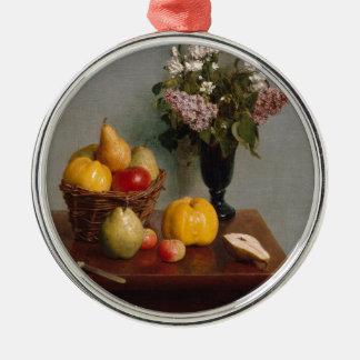 Ornement Rond Argenté La vie toujours avec les fleurs et le fruit