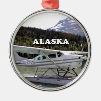 Ornement Rond Argenté L'Alaska : Avion de flotteur, lac 3 trail