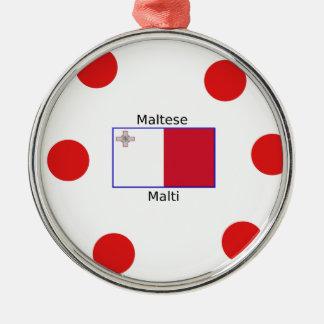 Ornement Rond Argenté Langue (de Malti) et conception maltaises de