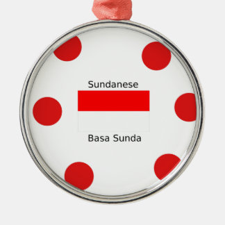 Ornement Rond Argenté Langue de Sundanese et conception de drapeau de