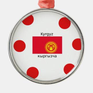 Ornement Rond Argenté Langue et conception kirghiz de drapeau du
