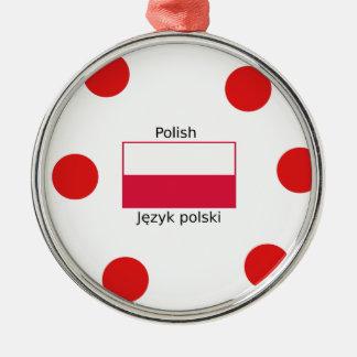 Ornement Rond Argenté Langue et conception polonaises de drapeau de la