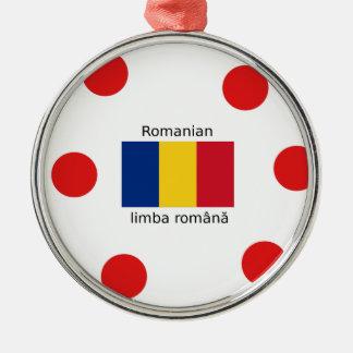 Ornement Rond Argenté Langue et conception roumaines de drapeau de la