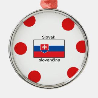 Ornement Rond Argenté Langue et conception slovaques de drapeau de la