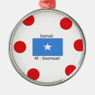 Ornement Rond Argenté Langue somalienne et conception de drapeau de la