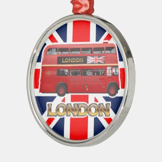 Ornement Rond Argenté L'autobus à impériale rouge de Londres