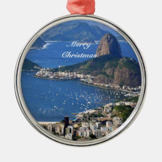 Ornement Rond Argenté Le Brésil : Paysage de Rio de Janeiro - Joyeux