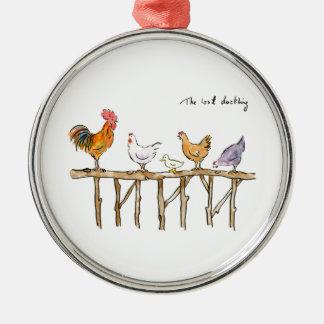 Ornement Rond Argenté Le caneton, les poulets et le caneton perdus