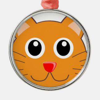 Ornement Rond Argenté Le chat orange au nez rouge