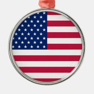 Ornement Rond Argenté Le drapeau des Etats-Unis tient le premier rôle