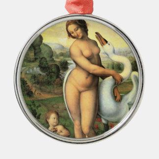 Ornement Rond Argenté Léda et le cygne par Leonardo da Vinci