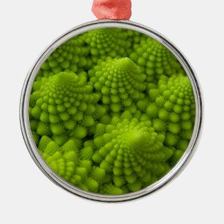 Ornement Rond Argenté Légume de fractale de brocoli de Romanesco
