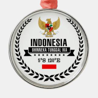 Ornement Rond Argenté L'Indonésie