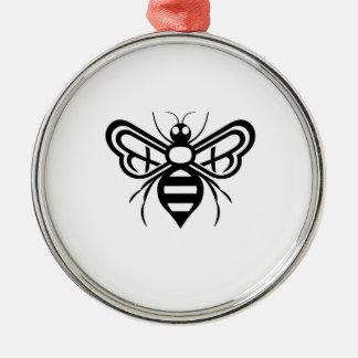 Ornement Rond Argenté Logo d'abeille d'acres de Riley