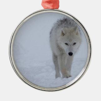 Ornement Rond Argenté Loup arctique