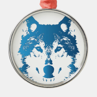 Ornement Rond Argenté Loup de bleu glacier d'illustration