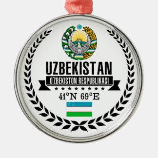 Ornement Rond Argenté L'Ouzbékistan