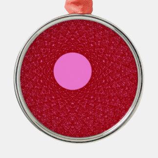 Ornement Rond Argenté lune rose rayonnant l'art abstrait de lumière