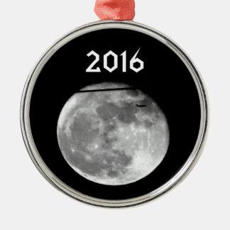 Ornement Rond Argenté Lune superbe avec l'avion passant/personnalisable