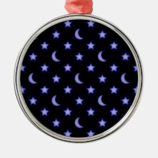 Ornement Rond Argenté Lunes et profil sous convention astérisque
