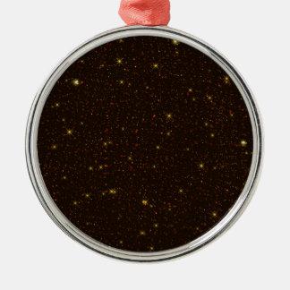 Ornement Rond Argenté L'univers avec de l'or et des étoiles de Brown