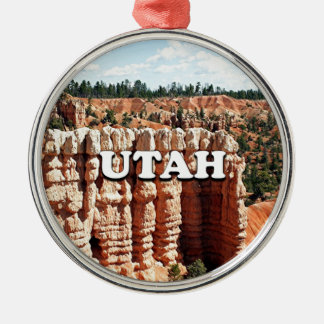 Ornement Rond Argenté L'Utah : Parc national de canyon de Bryce