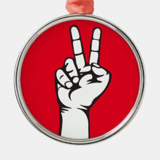 Ornement Rond Argenté main de V-signe