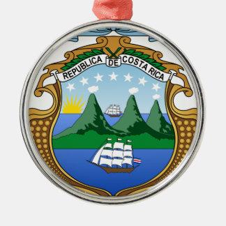 Ornement Rond Argenté Manteau des bras du Costa Rica - escudo De Costa