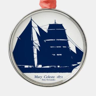 Ornement Rond Argenté Mary Celeste 1872 par les fernandes élégants