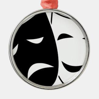 Ornement Rond Argenté Masques de tragédie de comédie
