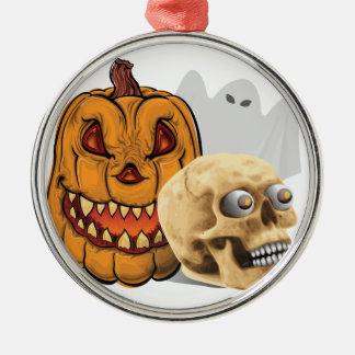 Ornement Rond Argenté Mélange de Halloween