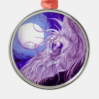 Ornement Rond Argenté Mignon pourpre magique de lune de licorne de noir