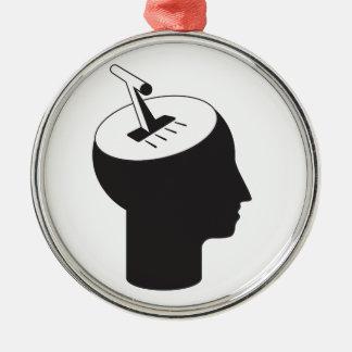Ornement Rond Argenté mode de cerveau - levier de pensée de décalage
